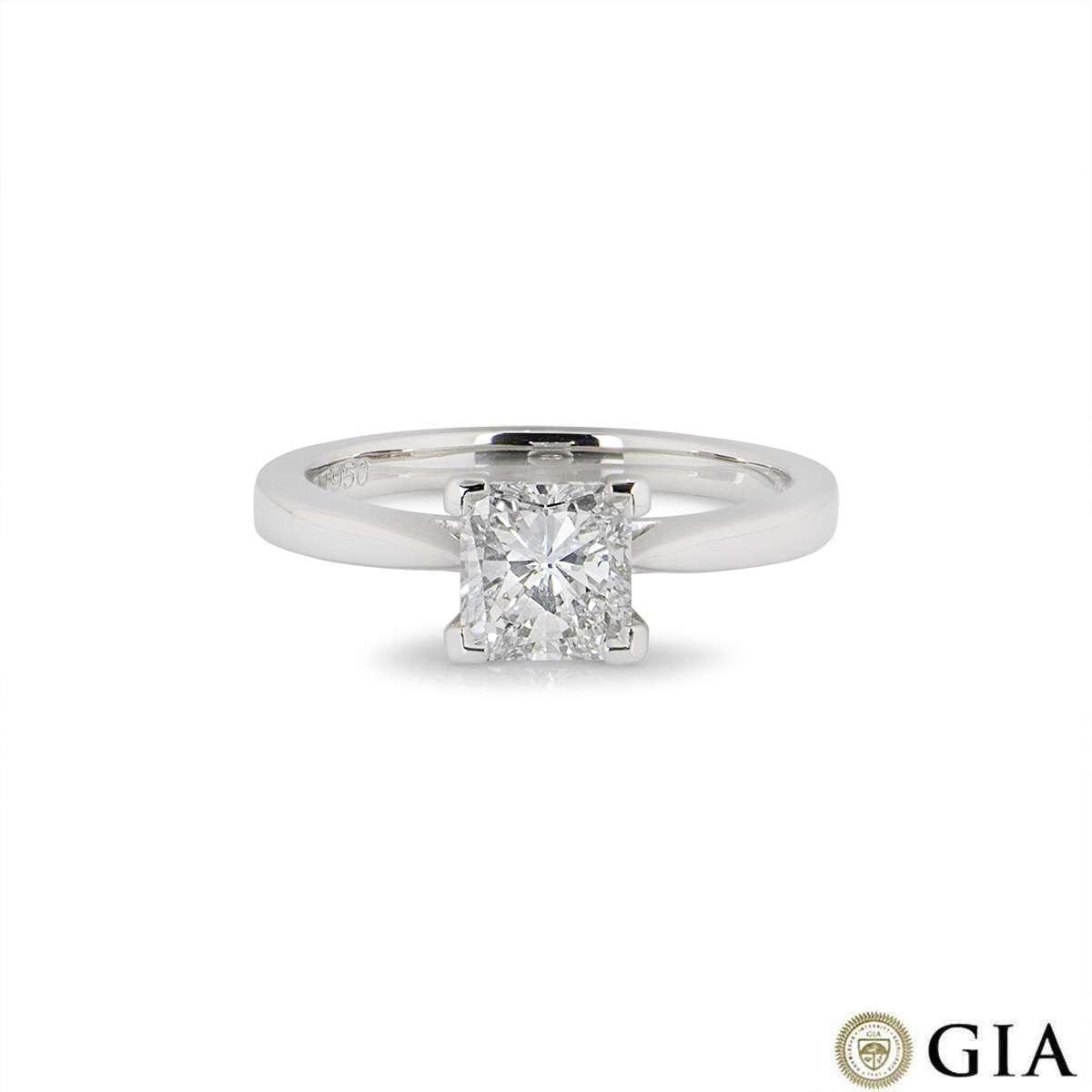 Platinum Radiant Cut Diamond Ring 1.03ct F/VS1